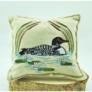 Loon with Cattails Embroidered Balsam Pillow