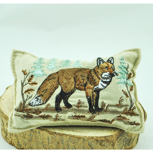 Embroidered Fox Balsam Pillow