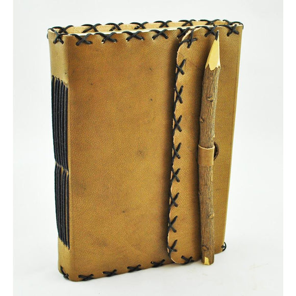 Leather Journal with Twig Pencil