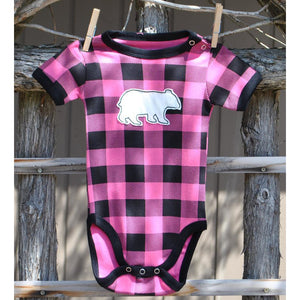 Pink Plaid Baby Creeper with Bear (2 Sizes Available)