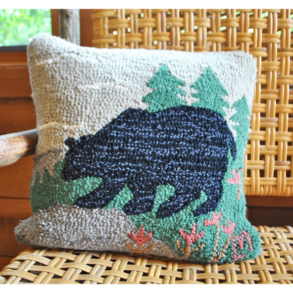 Woodsy Bear Hooked Wool Pillow