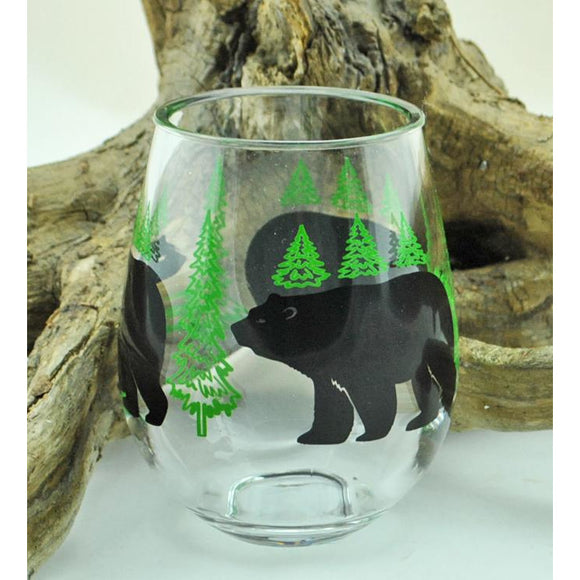Acrylic Bear and Trees Wine Glass