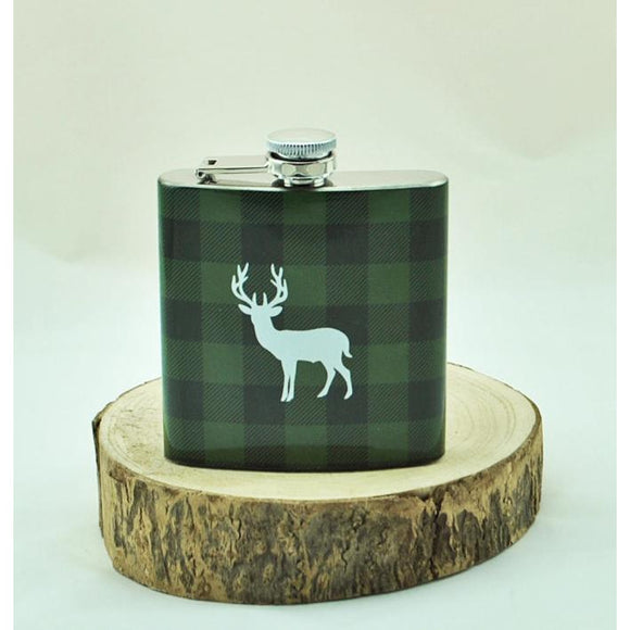 Plaid Buck Hip Flask
