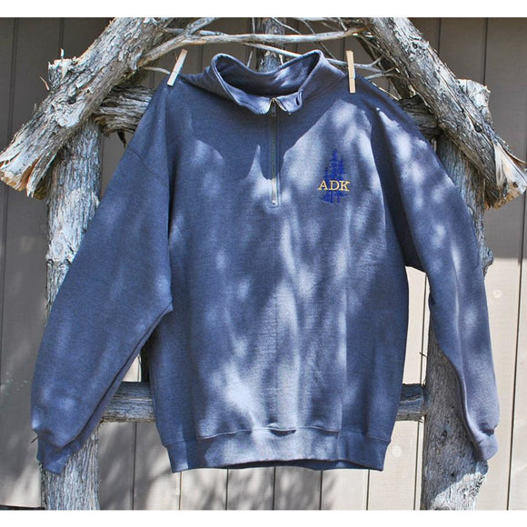 Embroidered ADK with Trees Quarter Zip Sweatshirt (2 Colors Available)