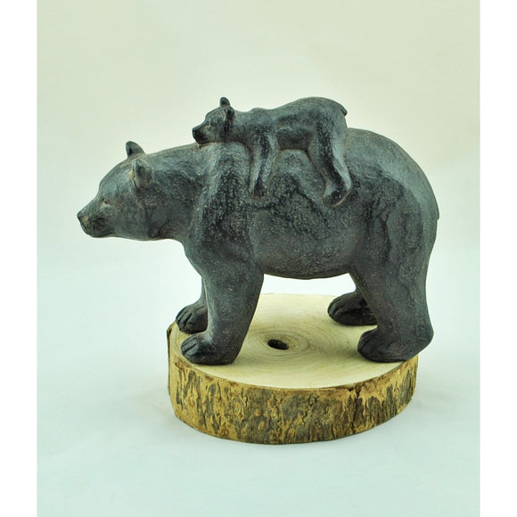 Black Bear with Cub Statue