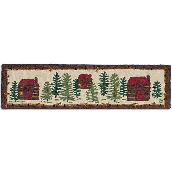 Cabin Hooked Wool Hearth Rug