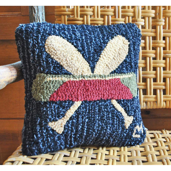Canoe and Cross Paddles Hooked Wool Pillow