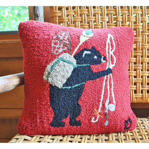 Bear Essentials Hooked Wool Pillow
