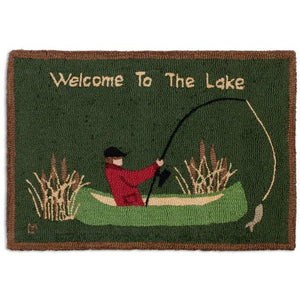 Welcome to the Lake Hooked Wool Rug