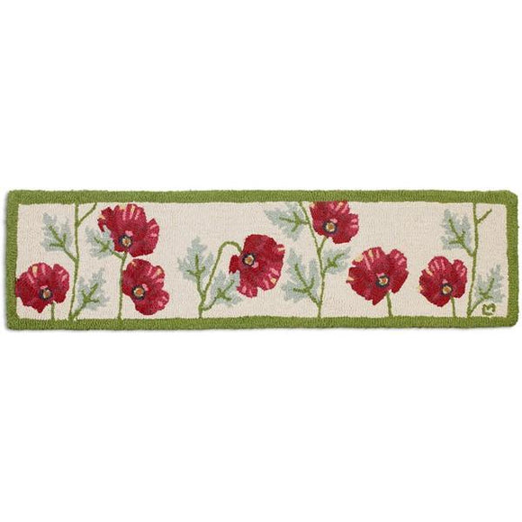 Poppies Hooked Wool Hearth Rug