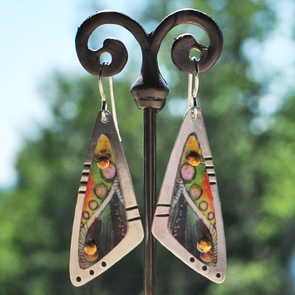 Abstract Triangle Dangle Earrings