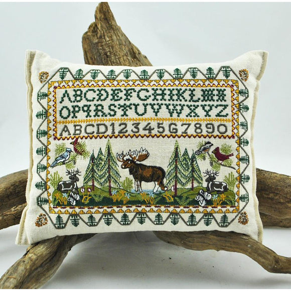 Embroidered Moose and Friends Balsam Pillow