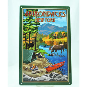 Adirondack Camp Scene Tin Sign
