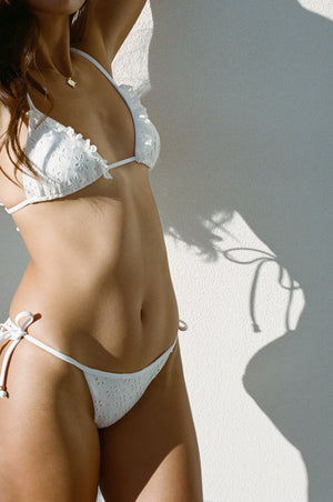 Saint-Tropez String Bottom - White Eyelet