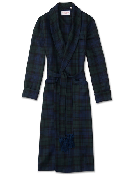Men's classic dressing gown tartan pure wool black watch, Derek Rose
