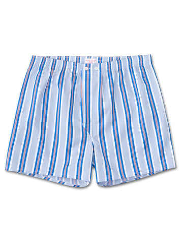 Men's classic fit boxer shorts mayfair 72 cotton satin stripe blue, Derek Rose