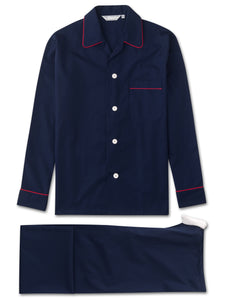 Men's classic fit piped pyjamas savoy cotton tie-waist navy, Derek Rose