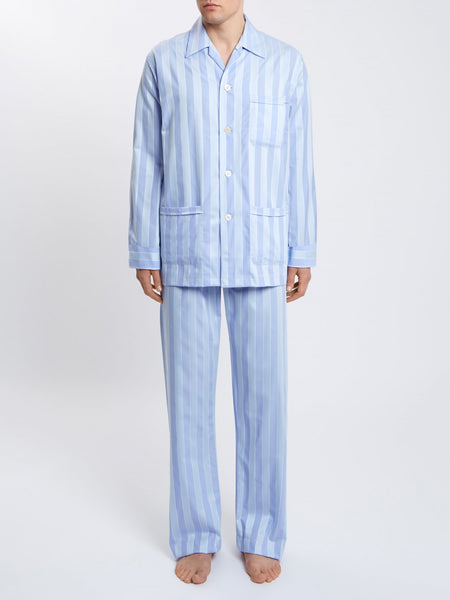 Men's Classic Fit Pyjamas mayfair 27 pure cotton satin stripe blue, Derek Rose