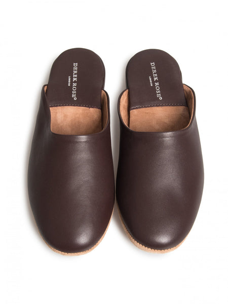 Men's open-back slipper morgan calfskin leather wine