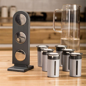 BREEZYLIVE Zero-Gravity Magnetic Spice Rack with 6 Seasoning Canisters