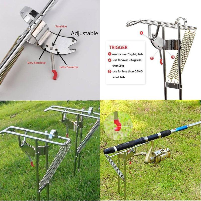 Dual Springs Stainless Fishing Rod Holder with Automatic Tip-up Hook Setter
