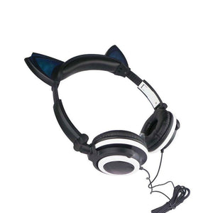 Cute Cat Ear Shape Lightweight Folding LED Luminous Wired Headphone