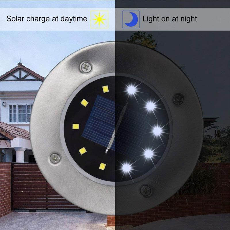 8 LED Waterproof Solar Disk In-ground Light for Yard/Lawn/Pathway