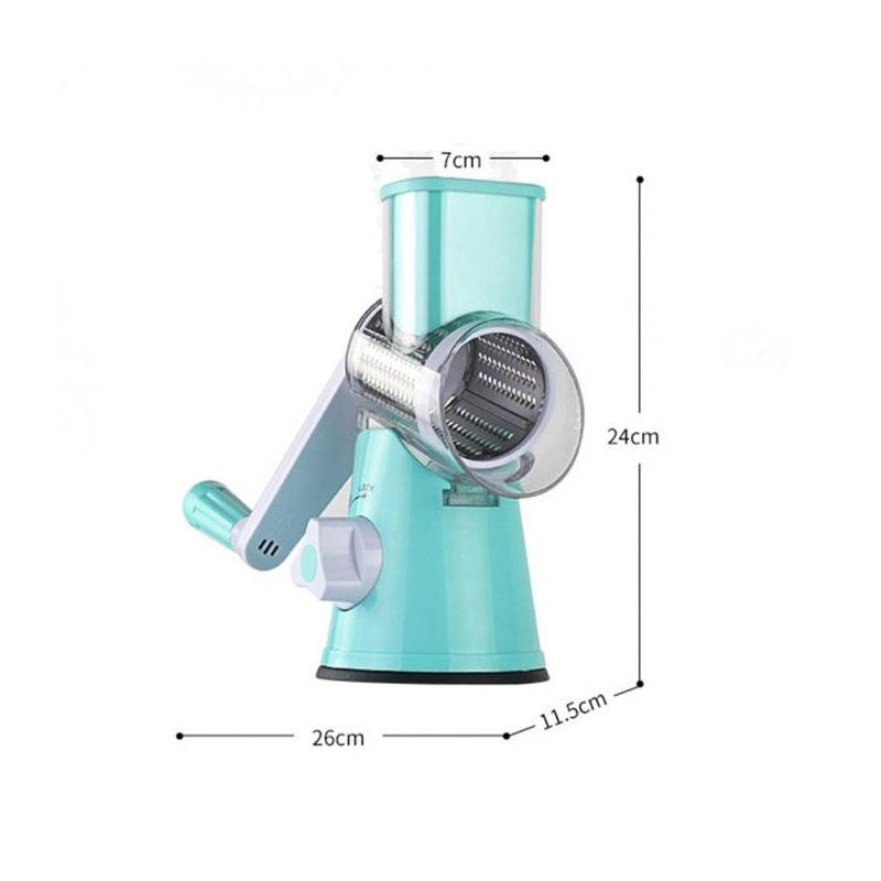BREEZYLIVE Round Manual Rotating Vegetable Fruit Slicer with 3 Rollers