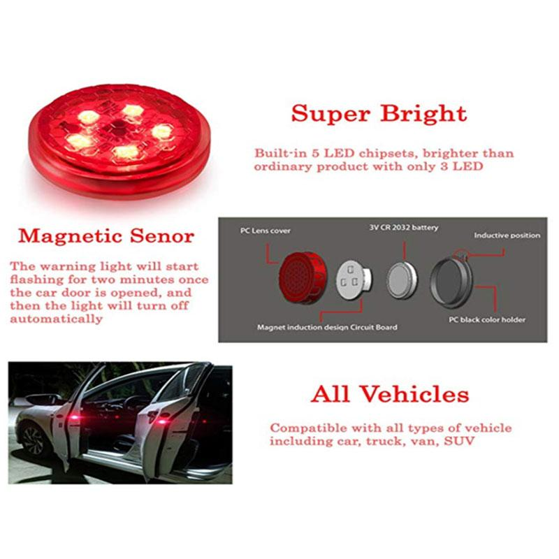 2Pcs Magnetic Waterproof Car Door LED Warning Light
