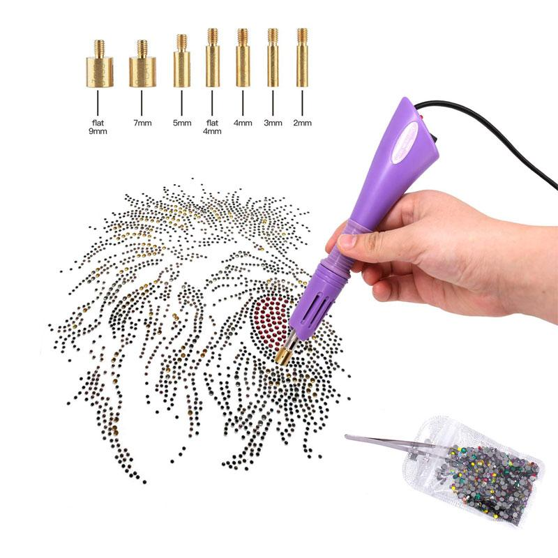 DIY Hot Fix Rhinestone Applicator Kit with 7 Different Sizes Tips