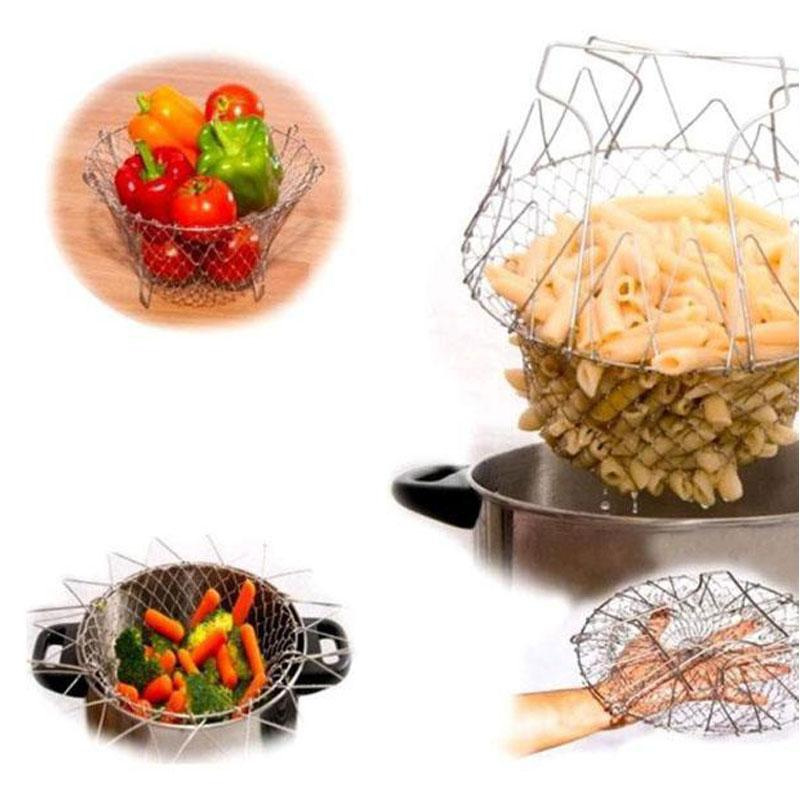BREEZYLIVE Magical Foldable Stainless Steel Kitchen Basket