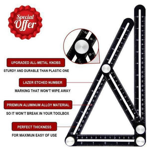Aluminum Alloy Multi Angle Measuring Ruler for Handymen/Craftsmen
