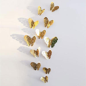 12 Pcs 3D Hollow Butterfly Wall Sticker for Home Decor