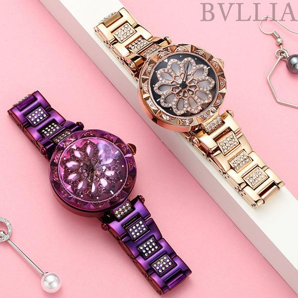 (50% OFF)2018FW Women Waterproof Flower Quartz Shining Rotation Watch