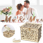 DIY Wedding Gift Card Box Wooden Money Box With Lock