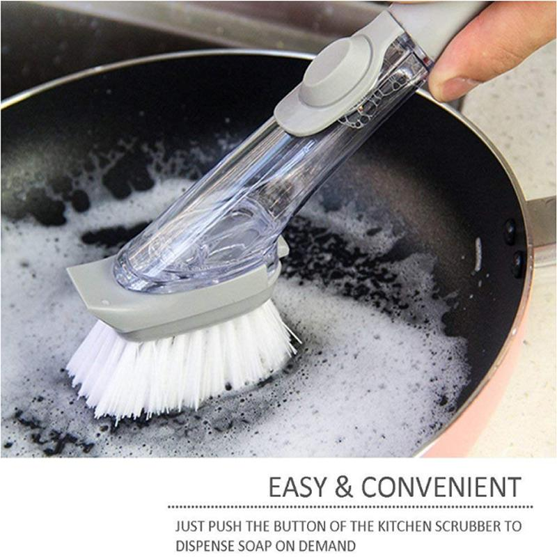 Refillable Liquid Cleaning Brush and Sponge Set for Kitchen