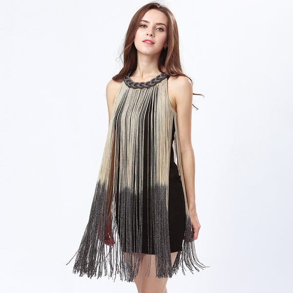Lady Tank Ombre Draping Costume Metal Chain Neck Gradient Tassel Dresses Women Clothing 1920s Flapper Swing Fringe Mini Vestido - Hobbyvillage