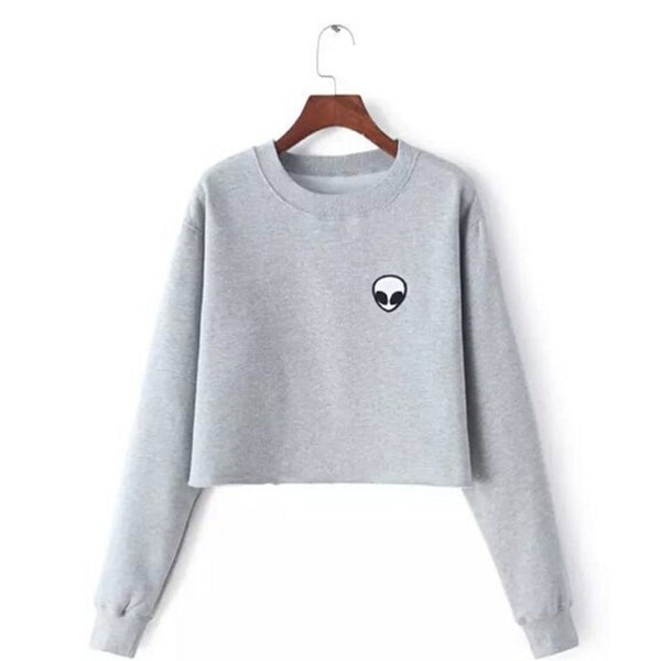 ET Aliens Printing Hoodies Sweatshirts harajuku Crew neck Sweats Women Clothing Feminina Loose Short Fleece Jumper Sweats Warm - Hobbyvillage