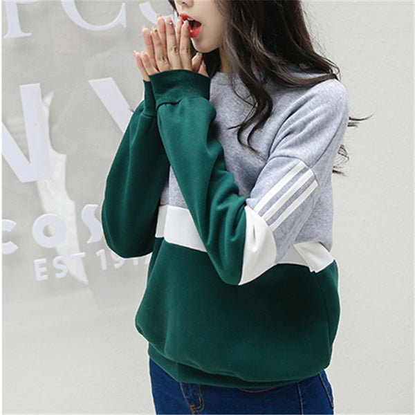 Autumn New Spell Color Stitching Harajuku Women Hoodies Pullover Fleece Loose Female Tracksuits Casual Round Neck Sweatshirt 2XL - Hobbyvillage
