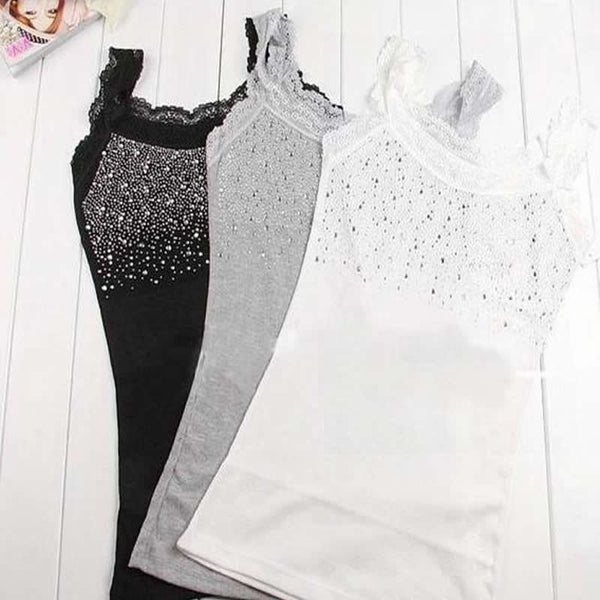 Women Sexy Rhinestone Lace Stunning Based Sleeveless Vest Tank Top Tee T-Shirt Black White Gray Camisole Cami Shirt Slim - Hobbyvillage