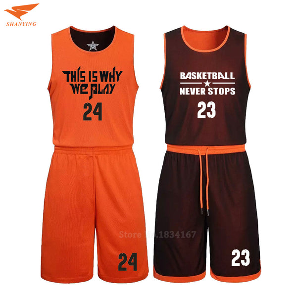 d77703705 2017 Men Reversible Basketball Set Uniforms kits Sports clothes Double-side basketball  jerseys DIY Customized Training suits
