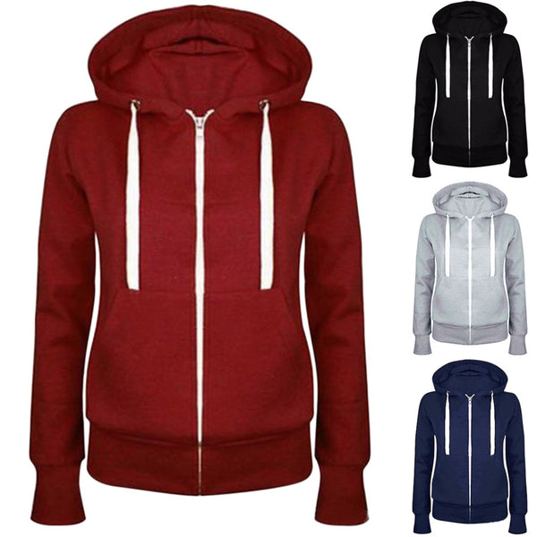 Fashion Women Solid Zip Up Hoodies Sweatshirt Hooded Long Sleeve Autumn Winter Coat Tops FS99 - Hobbyvillage