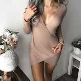 2017 New Sexy Women Long Sleeve V-neck Bodycon Club Wear Party Mini Dress Woman Clothes - Hobbyvillage