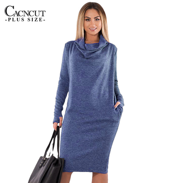 5XL 6XL Plus Size Winter Dress 2018 Vintage Big Sizes Women Office Dress Large Size Female Party Dresses With Pockets Work Wear - Hobbyvillage