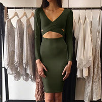 Forefair Sexy Criss Cross Bodycon Dress Women Spring Long Sleeve Night Club Wear Bandage Party Dresses Black Red Blue Vestido - Hobbyvillage