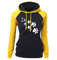 2018 Autumn Winter Fleece Women's Sportswear Harajuku Print CAT PAWS Cartoon Kawaii K-pop Clothing Streetwear Hoodies Sweatshirt - Hobbyvillage