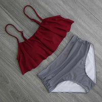 2017 Bikinis Women Swimwear High Waist Swimsuit Halter Sexy Bikini Set Retro Bathing Suits Plus Size Swimwear XXL - Hobbyvillage