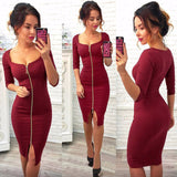 Women Sexy Club Low Cut Bodycon Dress Red Velvet Sheath 2018 Spring Winter Zipper Pack Hip Wear Party Dresses Black Vestidos - Hobbyvillage