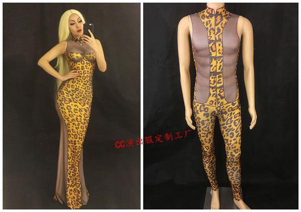 WOMEN MEN NEW Sexy Leopard Pattern Mesh Dress Sleeveless Cheongsam Long Dress Women's Birthday Party Outfit Female Stage Wear - Hobbyvillage