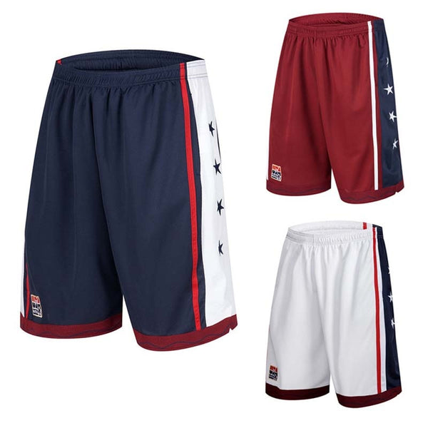 NEW 2019 Summer Outdoor USA Team Basketball Shorts Male Athletic Gym Sport Running Knee Length elastic loose Plus size M-3XL HOT - Hobbyvillage